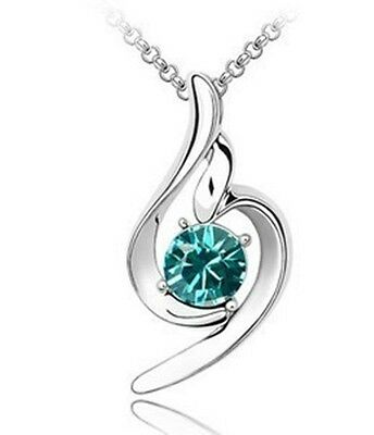 Hot selling Lady Silver Plated  Crystal  Pendant Necklace Chain 4013-12