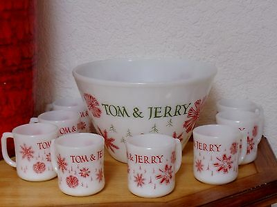 Vintage Christmas FIRE KING Tom & Jerry Punch Bowl Set w 8 Cups Red Snowflakes