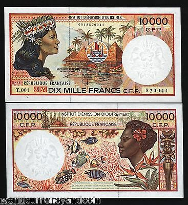 French Pacific Territories 10000 Francs P4 1985 10,000 Fish Unc Money Bank Note