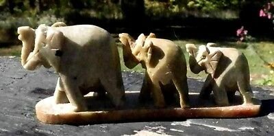 Hand Carved Figurine Elephant Family Carved From Stone Knick Knack