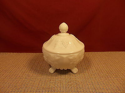 Vintage Westmoreland Glass Paneled Grape Milk Glass Pattern Covered Candy Dish