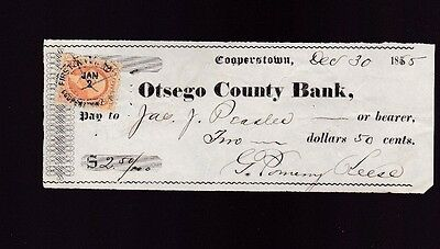 Otsego County Bank Cooperstown NY Vintage Used Bank Check 1865 Revenue Stamp