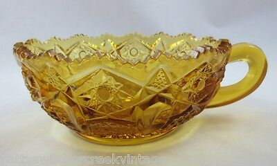 Vintage L.E. Smith Glass Loop Handled Nappy Dish-Heritage-AMBER Gold