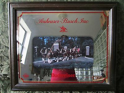 Vintage 1989 Budweiser Clydesdales Anheuser Busch Mirror Beer Sign w/ wood Frame