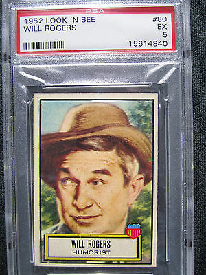 1952 Look N See #80 Will Rogers PSA 5 Excellent