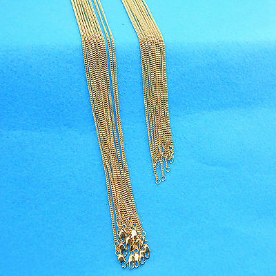 "1PCS 16-30"" Jewelry 18K Yellow Gold Filled Chain Flat Curb Necklaces For Pendant"