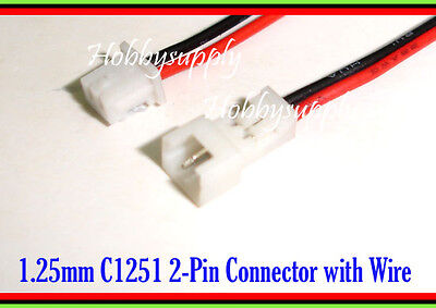 1.25mm 2-Pin Picoblade Male Female Connector with wire 28AWG for RC Hobby 5 SETS