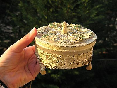 Vintage / Antique Metal Base and cut glass Jewelry box .Victorian Style