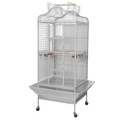 Large Parrot Bird Cage Dome Play Top Finch House White Vein Pet Supply