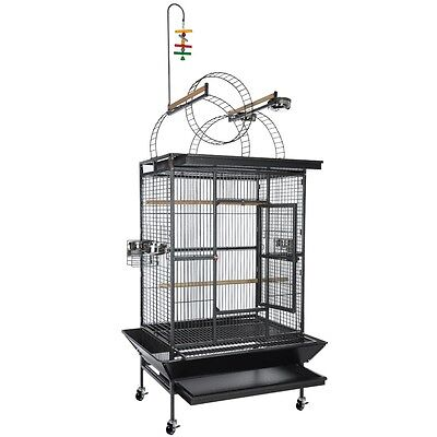 Rolling PlayTop Ladder Parrot Bird Cage 5 Bowls Gym Aviary Free Toy Pet Supply