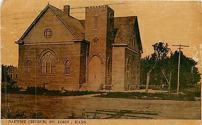 Kansas, KS, St John, Baptist Church 1913 Postcard