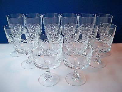 Set of 18 Cristal D Arques DIAMOND Clear Water, Wine & Sherbet Goblets 6 each