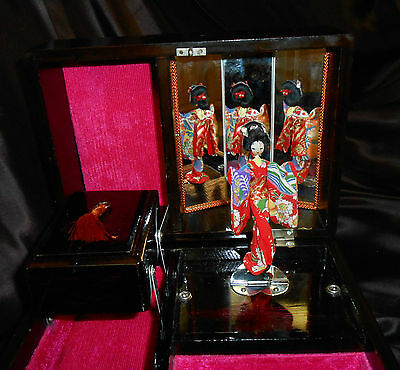 VTG JAPANESE LACQUER EXQUISITE GEISHA JEWELRY MUSIC BOX--SCENIC w MOP GORGEOUS!