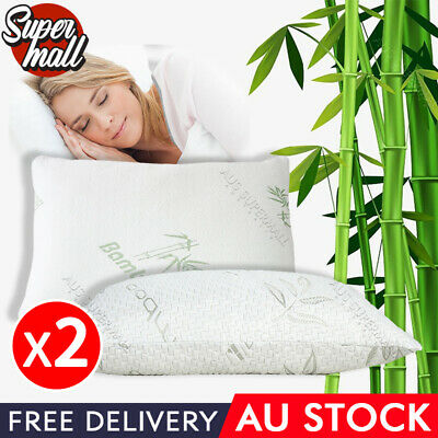 2X  Large Bamboo Memory Foam Pillow Fabric Fibre Cover Anti-bacterial 70 x 40 cm