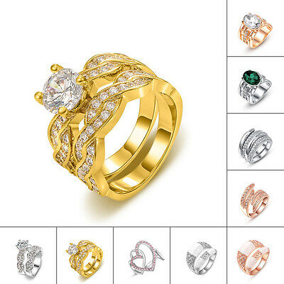 Multi Designs Heart Shaped Clear Austrian Crystal 18K Yellow Gold Gp Finger Ring