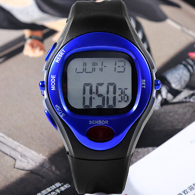 Counter Pulse Heart Rate Monitor Leatheroid Band Sport Calorie Wrist Watch