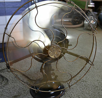 """Ultra rare antique complete running 16"""" GE General Electric Pancake Fan NR"""