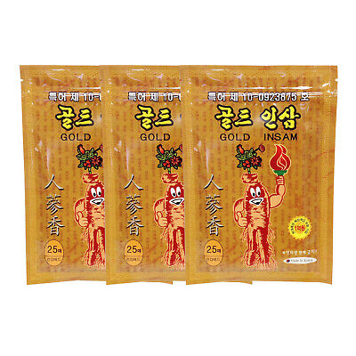 x 3 packs Gold Ginseng Plaster Pads Tape Healthful Patch Help pain relief
