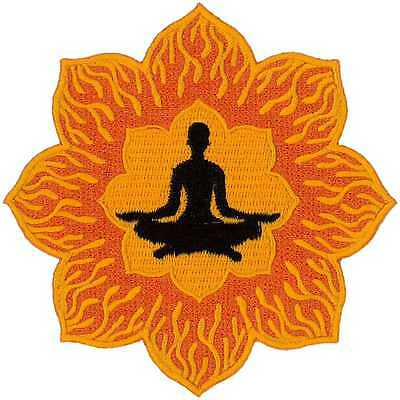 """Yoga - Lotus Flower - Embroidered Iron On Patch - 4"""" ( 10.2cm )"""