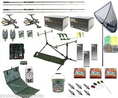 Shakespeare  Full Carp Fishing Set  Kit Rods Reels Alarms Baits.