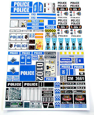CUSTOM POLICE STICKERS LOT for MODELS, TOYS, Lego 8665, 7034, 7237, 7743, ETC