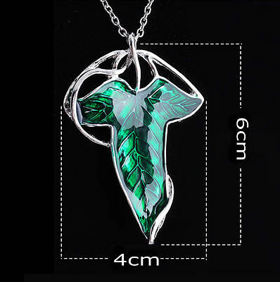 Nice Gift Lord of The Rings Green Leaf Elven Pin Brooch Pendant Chain Necklace