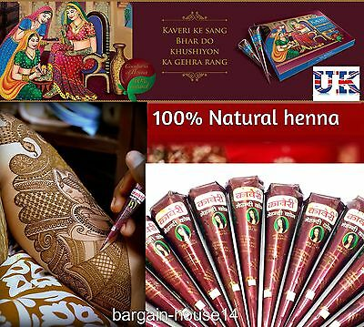 6 X Best  Quality Herbal Henna Indian Arabic Mehndi Cones  -Color Guarantee