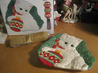 Fitz and Floyd Yuletide Kitten Cat Snack Plate with Spreader NIB