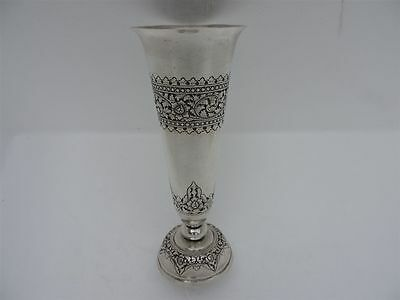 Finest Vintage Signed Antique Solid Silver ASIAN ORIENTAL Chased/ Repousse VASE