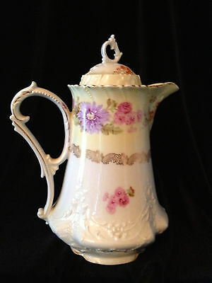 Antique German Hand Painted Pink and Purple Floral Chocolate Pot/Coffee Pot