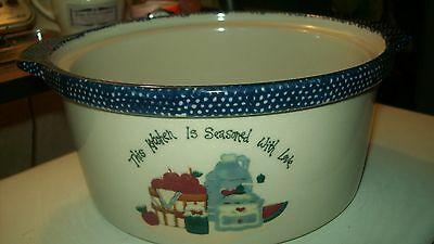 Stone ware Casserole dish  with blue speckled handles/rim