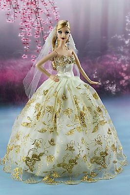 Fashion Princess Dress With Golden Trim/Clothes/Gown+Veil For Barbie Doll S124b