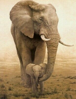 """24x36"""" Large Animal Oil Painting On Art Canvas - African Elephant(No Framed)"""