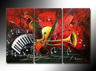 3PC MODERN ABSTRACT HUGE WALL ART OIL PAINTING  (No Frame)