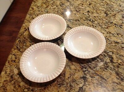 "3-Vintage Bombay & Co Coupe Bowl 9"", Stoneware Embossed Fluted Rim, Cream White"