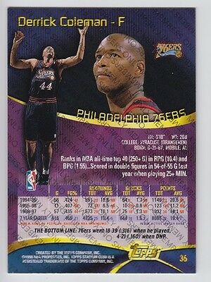 1997-98 STADIUM CLUB MEMBERS ONLY DERRICK COLEMAN #36 RARE VERY LIMITED