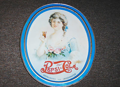 "VINTAGE PEPSI TRAY OVAL WITH VICTORIAN DRESSED WOMAN DRINKING PEPSI  14 ""X11 3/4"