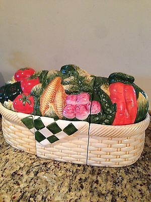 CIC Susan Winget 3 Piece Ceramic Canister Set Vegetable Basket Really Sharp