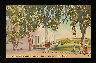 1940s La Osa Ranch One of the Many Dude Ranches Dude with Two Babes Tucson AZ PC