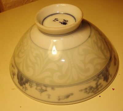 Japan Scenic with Scrolls Handpainted Pale Blue-SIGNED- Vintage Footed Rice Bowl