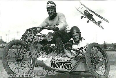 Vintage Norton Motorcycle with Sidecar Racing  Photo 1920s Airplane flying over
