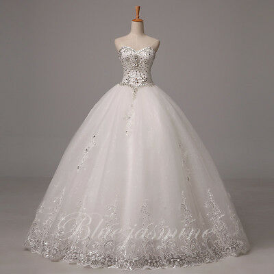 2015 New Sexy White/Ivory Beads Wedding Dress Sweetheart Bridal Gown Custom Size