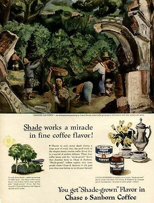 """""""COFFEE COUNTRY"""" ARTWORK BY LEWIS DANIEL IN 1947 CHASE & SANBORN COFFEE AD"""
