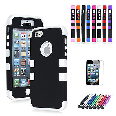 New Heavy Duty Shook Proof Workman Case Cover for iPhone 5 Full Armour Impact