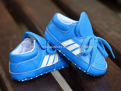 Toddler Baby Boy Blue & White Trainers Pram Shoes Size Newborn to 18 Months