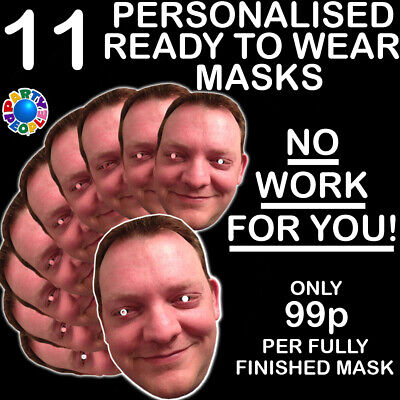 11 x PERSONALISED PHOTO FACE MASK KITS FOR STAG & HEN NIGHT AND BIRTHDAY PARTY
