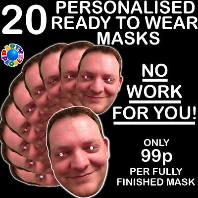 20 x PERSONALISED PHOTO FACE MASKS KITS FOR STAG & HEN NIGHT AND BIRTHDAY PARTY