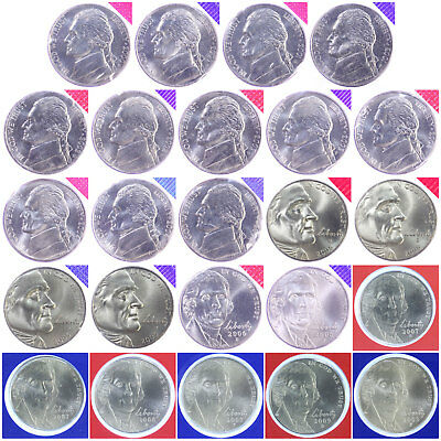 2000-2009 P D Jefferson Nickel BU Run Mint Cello Decade Set 24 US Coins