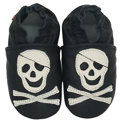 carozoo pirate black 6-7y soft sole leather kids shoes