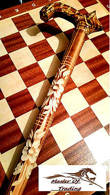 Stunning ''wolf'' Wooden Walking Stick! Handicraft Covered By Carved Ornaments!
